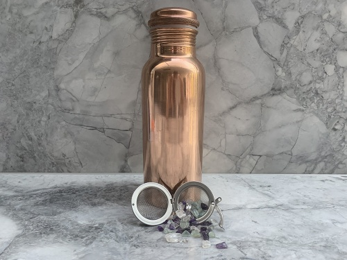 Mini Copper Bottle with Vibrational Crystal Pod - Focus & Concentration
