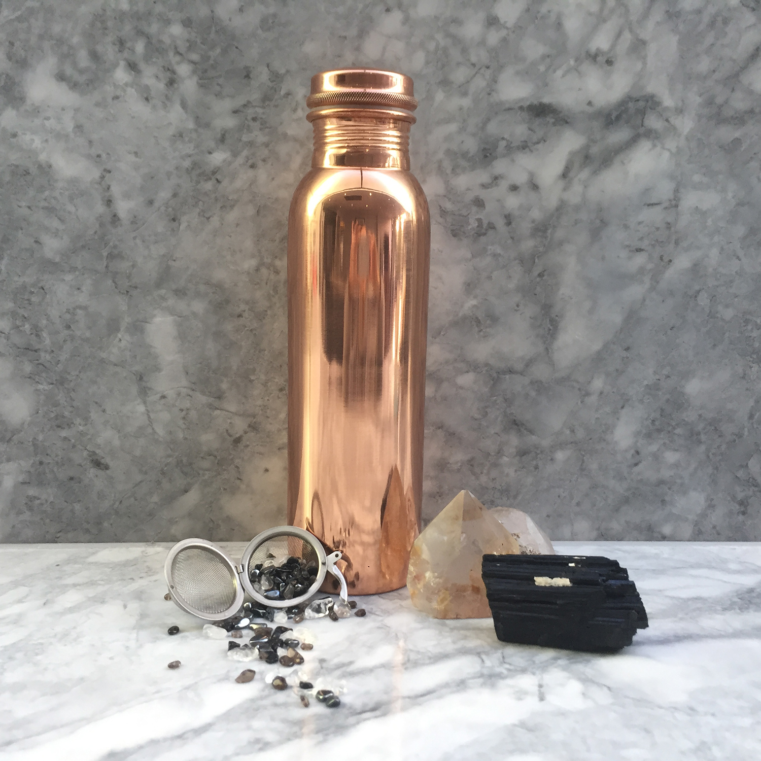 Copper Bottle with Vibrational Crystal Pod - EMF Shield